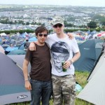 Me and my best bud at our first Glastonbury with our tremendous view from the Paines Ground.