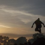 Jumping off one of the stones of the Stone Circle at dawn.