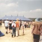 Walking towards the massive dance tent.