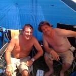 Fat boys enjoying the camping