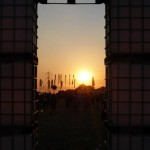 Sunset through cubehenge