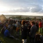 A view from above the Stone Circle around sunset.