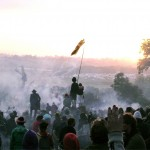 Sunrise at Stone Circle on the last day of my first Glastonbury #warscene