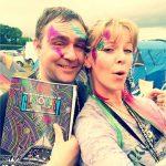 Danny Amerigo & Sarah Morgan, S.E Corner stewards off dut on wednesday, rocking in the sun with glitter and a Glastonbury guide