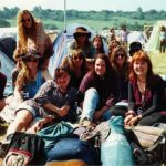 My tribe of Aussie backpackers, still all great mates. Pack up day, camping NME Stage campground.  Bicycle disco was a great memory.
