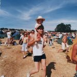 My dad and I at Glastonbury in 1989