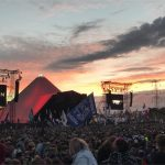 Sunset over the pyramid stage waiting for Ed Sheeran