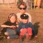 Mum, me and sister in the kids field